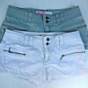 Set of 2 ROXY Olive Green & White Cargo Shorts